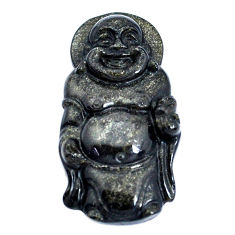 Natural 28.45cts onyx black 33.5x17.5 mm laughing buddha loose gemstone s10125