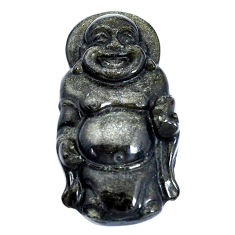 Natural 25.10cts onyx black 33x18.5 mm laughing buddha loose gemstone s10126