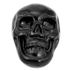 Natural 7.40cts onyx black carving 18x12 mm fancy skull loose gemstone s10012