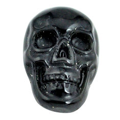 Natural 6.30cts onyx black carving 18x12 mm fancy skull loose gemstone s13291