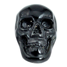 Natural 5.30cts onyx black carving 18x12 mm fancy skull loose gemstone s13292