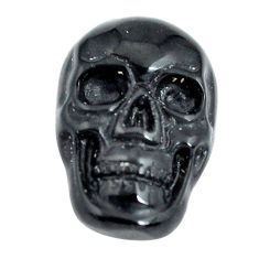 Natural 6.40cts onyx black carving 18x12 mm fancy skull loose gemstone s13293