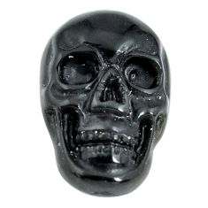 Natural 6.30cts onyx black carving 18x12 mm fancy skull loose gemstone s13294