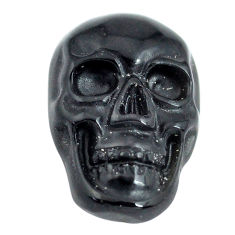 Natural 5.30cts onyx black carving 18x12 mm fancy skull loose gemstone s13296