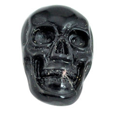 Natural 6.30cts onyx black carving 18x12 mm fancy skull loose gemstone s13297