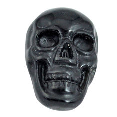 Natural 6.35cts onyx black carving 18x12 mm fancy skull loose gemstone s13298
