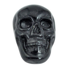 Natural 6.30cts onyx black carving 18x12 mm fancy skull loose gemstone s13299