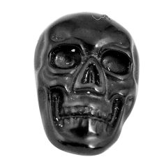 Natural 6.30cts onyx black carving 18x12 mm fancy skull loose gemstone s13300