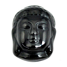 Natural 13.45cts onyx black carving 20.5x15 mm buddha face loose gemstone s13251
