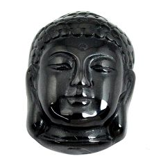 Natural 11.45cts onyx black carving 20.5x15 mm buddha face loose gemstone s13252