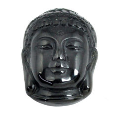 Natural 13.45cts onyx black carving 20x14 mm buddha face loose gemstone s13250