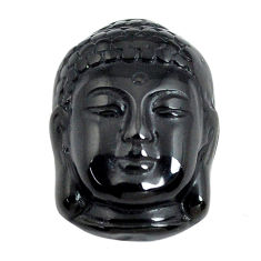 Natural 12.35cts onyx black carving 20x15 mm buddha face loose gemstone s13247