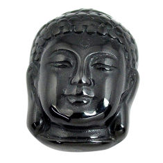 Natural 13.45cts onyx black carving 20x15 mm buddha face loose gemstone s13254