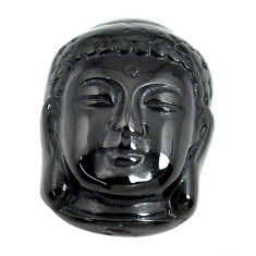 Natural 13.45cts onyx black carving 20x15 mm buddha face loose gemstone s13255