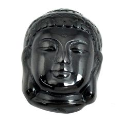 Natural 13.45cts onyx black carving 21x15 mm buddha face loose gemstone s13246