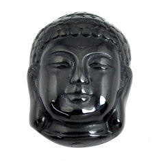 Natural 14.45cts onyx black carving 21x15 mm buddha face loose gemstone s13248