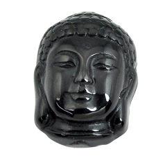 Natural 1.45cts onyx black carving 21x15 mm buddha loose gemstone s13249