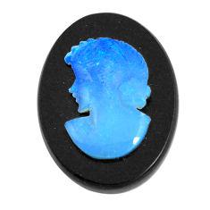 Natural 9.45cts opal cameo on black onyx black 20x15 mm loose gemstone s12201