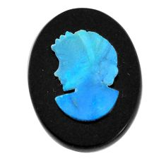 Natural 7.35cts opal cameo on black onyx black 20x15 mm loose gemstone s12203
