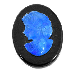 Natural 7.35cts opal cameo on black onyx black 20x15 mm loose gemstone s12211