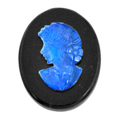 Natural 7.40cts opal cameo on black onyx black 20x15 mm loose gemstone s12213