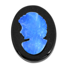 Natural 9.45cts opal cameo on black onyx black 20x15 mm loose gemstone s12214