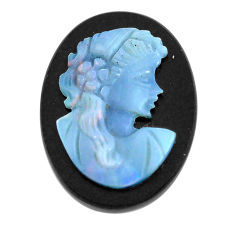 Natural 8.25cts opal cameo on black onyx black 20x15 mm loose gemstone s12215