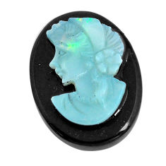 Natural 10.15cts opal cameo on black onyx black 20x15 mm loose gemstone s12219