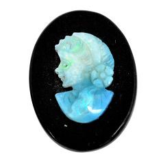 Natural 10.15cts opal cameo on black onyx black 25x18 mm loose gemstone s12196