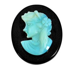 Natural 13.45cts opal cameo on black onyx black 25x20 mm loose gemstone s12183