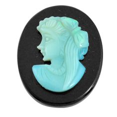 Natural 15.30cts opal cameo on black onyx black 25x20 mm loose gemstone s12185
