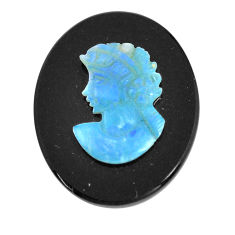 Natural 12.35cts opal cameo on black onyx black 25x20 mm loose gemstone s12189