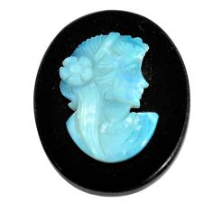 Natural 16.30cts opal cameo on black onyx black 25x20 mm loose gemstone s12197