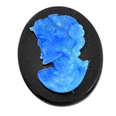 Natural 13.45cts opal cameo on black onyx black 25x20 mm loose gemstone s12223