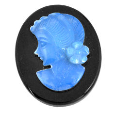 Natural 13.45cts opal cameo on black onyx black 25x20 mm loose gemstone s12225