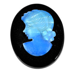 Natural 14.05cts opal cameo on black onyx black 25x20 mm loose gemstone s12226