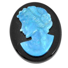Natural 16.30cts opal cameo on black onyx black 25x20 mm loose gemstone s12230