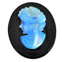 Natural 11.30cts opal cameo on black onyx black 25x20 mm loose gemstone s12231