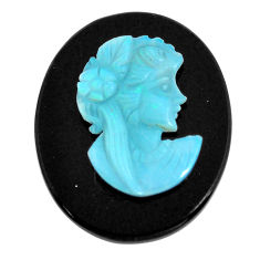 Natural 11.20cts opal cameo on black onyx black 25x20 mm loose gemstone s12233