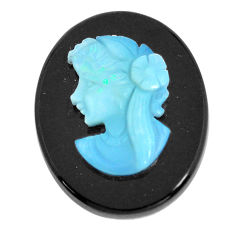 Natural 15.15cts opal cameo on black onyx black 25x20 mm loose gemstone s12234