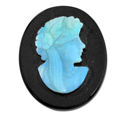 Natural 12.40cts opal cameo on black onyx black 25x20 mm loose gemstone s12235