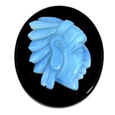 Natural 26.20cts opal cameo on black onyx black 30x25 mm loose gemstone s12168