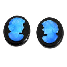 Natural 5.10cts opal cameo on black onyx pair 12x10 mm loose gemstone s12245