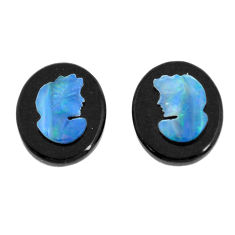 Natural 4.20cts opal cameo on black onyx pair 12x10 mm loose gemstone s12246