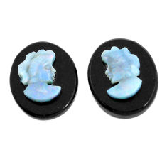 Natural 4.15cts opal cameo on black onyx pair 12x10 mm loose gemstone s12251