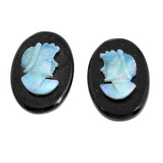Natural 6.30cts opal cameo on black onyx pair 14x10 mm loose gemstone s12248