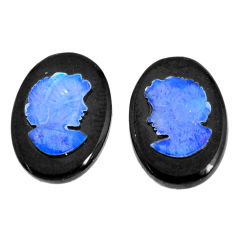 Natural 5.15cts opal cameo on black onyx pair 14x10 mm loose gemstone s12260