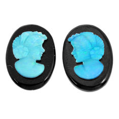 Natural 6.30cts opal cameo on onyx black pair 14x10 mm loose gemstone s12242