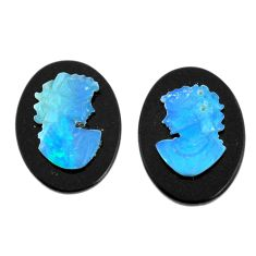 Natural 6.30cts opal cameo on onyx black pair 18x13 mm loose gemstone s12241