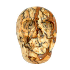 Natural 7.40cts picture jasper brown 18x12 mm skull face loose gemstone s13306